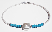 Baroque Turquoise Beaded Gemstone Anklet