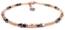Garnet Copper Beaded Anklets