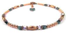 June Lt. Amethyst Copper Beaded Anklets