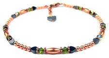 August Peridot Copper Beaded Anklets
