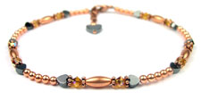 Golden Topaz Copper Beaded Anklets