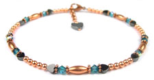 Blue Zircon Copper Beaded Anklets