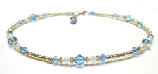 Aquamarine Gold Filled Beaded Anklets