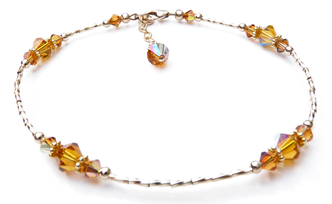 January Birthstone Beaded Anklets