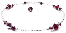 Gold Beaded January Garnet Crystal Bracelet
