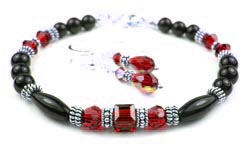January Garnet Swarovski Crystal Black Birthstone Bracelet