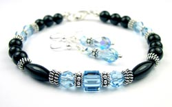March Aquamarine Swarovski Crystal Black Birthstone Bracelet