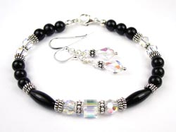 April Crystal Swarovski Crystal Black Birthstone Bracelet
