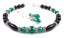 May Emerald Swarovski Crystal Black Birthstone Bracelet