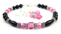 October Pink Tourmaline Swarovski Crystal Black Birthstone Bracelet