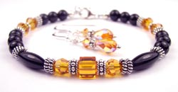 November Golden Topaz Swarovski Crystal Black Birthstone Bracelet