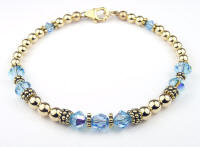 January Garnet Swarovski Crystal Gold Filled Beaded Birthstone Bracelet