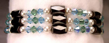 Magnetic bracelets, healing hematite magnetic bracelets with pearls and swarovski crystals in your choice of colors!
