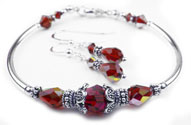 January Garnet Swarovski Crystal Birthstone Bangle Bracelet