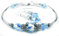 March Aquamarine Swarovski Crystal Birthstone Bangle Bracelet