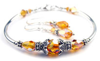 November Golden Topaz Swarovski Crystal Birthstone Bangle Bracelet