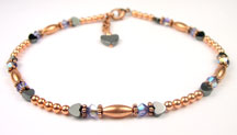 Amethyst Copper Beaded Anklets