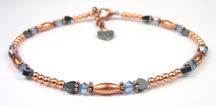 Aquamarine Copper Beaded Anklets