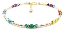 14Kt Gold Filled Swarovski Crystal and Gemstone Chakra ankle bracelet