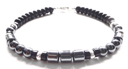 Mens Root Chakra Bracelet with Hematite, Black Agate, and Black Onyx